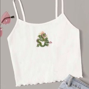 Brand new dragon embroidered tank top medium